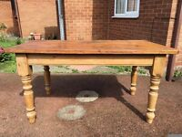 Large Pine Cottage Style Dining Table - Solid Pine Dining Table