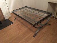 Metal and glass coffee table