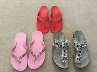 Job Lot of 3 Pairs of Toe Post Sandals / Flip Flops including Oakley Shoe Size 4 - 4.5 - 50p Each!
