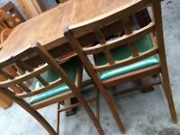 VINTAGE 1930s OAK TABLE CHAIRS AND MATCHING SIDEBOARD.