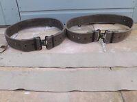 2 Vintage British Army-Canvas Belts c 1970s & Vintage Putties