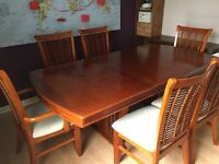 Solid Dark Wood Extendable Table and 6 Chairs