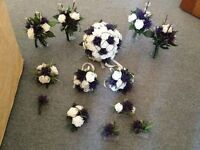 Artificial rose and thistle wedding flowers