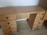 OAK WOODEN DESK WITH DRAWERS