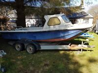 WILSON FLYER FISHING BOAT PROJECT, 17FT ON FLAT BED TRAILER