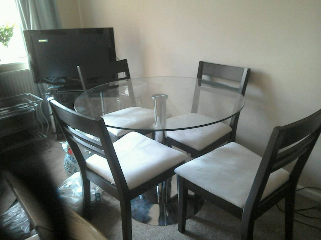 Contemporary John Lewis Glass Dining Room Table and Four Chairs