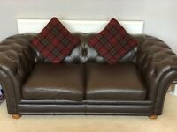 Fantastic 2x 2-Seater Chocolate Brown Leather Chesterfield Sofa's and Matching Footrest