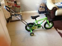 Apollo Kids Bike with stabilisers and push handle