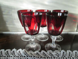 NOW REDUCED - Vintage Cristal D'Arques ruby/clear wine glasses