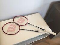 2 Wilson Titanium TI POWER Badminton rackets 100% graphite shaft 90g frame weight