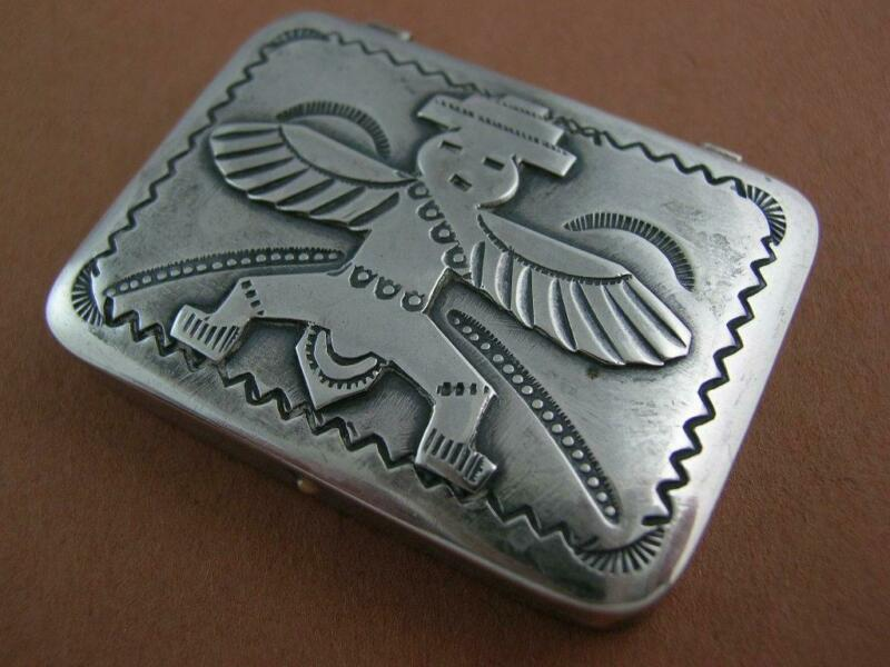 Navajo Silver Pill / Trinket Box w/ hand stamped patterns & figural lid