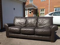 Leather 3 Seat Sofa Brown