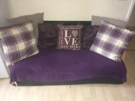 Black Sofa bed, Cushions and throw over NOT included