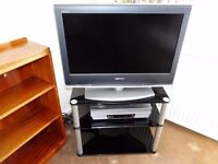 Sony television with corner glass stand