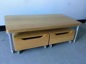 Table with drawers built-in wheels