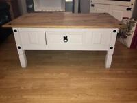 Solid Wood Shabby Chic Off White/Light Grey Coffee Table
