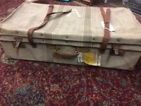 SUITCASE - LARGE VINTAGE CANVAS CASE WITH LEATHER HANDLE AND STRAPS