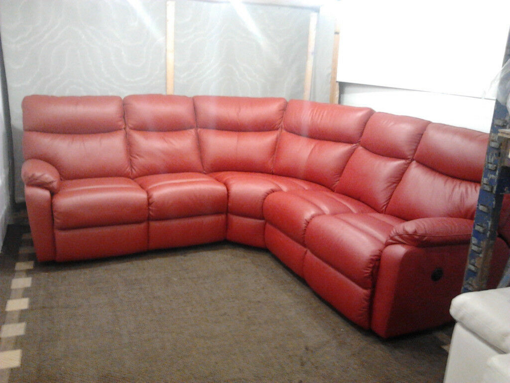 Corner Sofa Ex Display Electric Recliner Red Leather In
