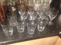 Job Lot Wine and Drinking Glasses