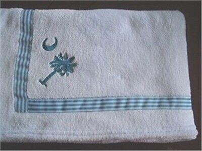 "30""x40"" Baby Lt Blue Coral Fleece Blanket South Carolina Palmetto State Logo"