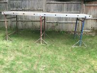 3x Builders Tressels and 2 Aluminium Staging Boards 450 x 3 metre