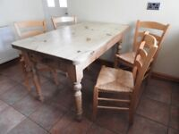Pine Farmhouse Kitchen Table and 5 Beech Framed Chairs