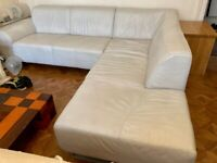 Designer White Leather Corner Sofa