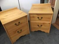 PAIR OF MATCHING PINE EFFECT BEDSIDE CABINETS - CAN DELIVER