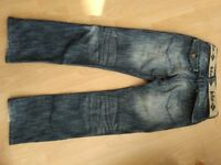 Mens blue Lee Cooper jeans, W30, L32, 2 belts. Gd condition