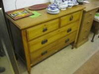 VINTAGE ORNATE SATINWOOD CHEST OF DRAWERS. '2 OVER 2' LAYOUT. VIEWING/DELIVERY AVAILABLE