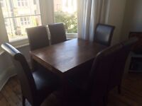 Mango Wood Table and 6 High backed chairs
