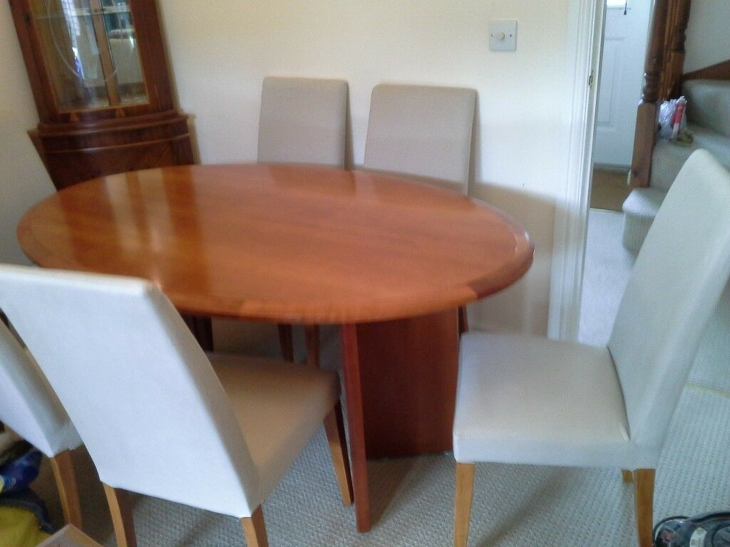Oval Cherry Wood Dining Table And Six Chairs In Swindon - Oval cherry wood dining table