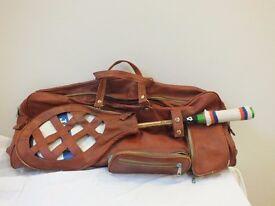 Squash bag. Soft brown leather