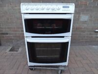 Cannon Henly dual fuel; dual oven; 600mm wide; white cooker; LPG & Electric