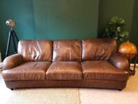 1 X Two Seater And 1x Three Seater Beautiful Raw Leather Sofas