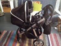 Norton pram with car seat and rain cover