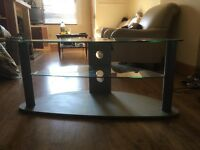 Glass TV table with 2 shelves