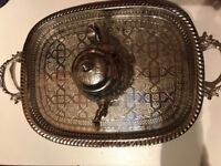 Authentic Moroccan handcrafted Silver Teapot and Tray from Fez
