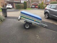 Trelgo aluminian trailer with drop down panel at the rear,measuring 4 feetx3feet