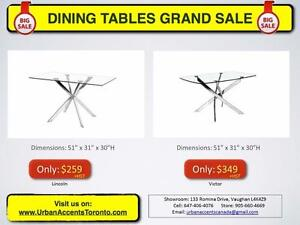 GLASS DINING TABLES. BRAND NEW IN BOX. CHROME LEGS & GLASS TOP.  DINING TABLE SETS ALSO AVAILABLE.