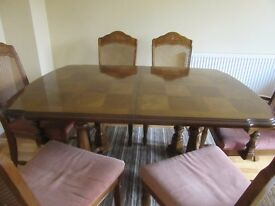 Dining Table with 4 Chairs, 2 Carver chairs and matching Sideboard