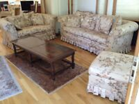 3 piece - Vintage Floral 3 seater Sofa Bed, 2 seater Sofa & Footstool - £180ono