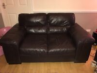 Pair of 2 seater leather sofas