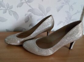M&S Collection sparkly gold heels Size 6.5 WORN ONCE