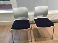Kitchen dining side chair white plastic and chrome retro style allermuir