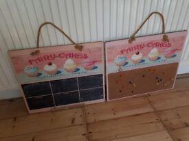 Kitchen chalk board and pin board very pretty cost £25 each