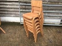🔔 Wooden Pine Kids School Chairs Set of 6 Mid Century Stacking Vintage 🔔
