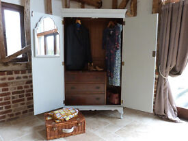 """Vintage French """"style"""" painted shabby chic double wardrobe with internal chest of drawers"""