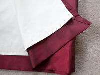 PAIR OF FAUX SILK BURGUNDY LINED CURTAINS