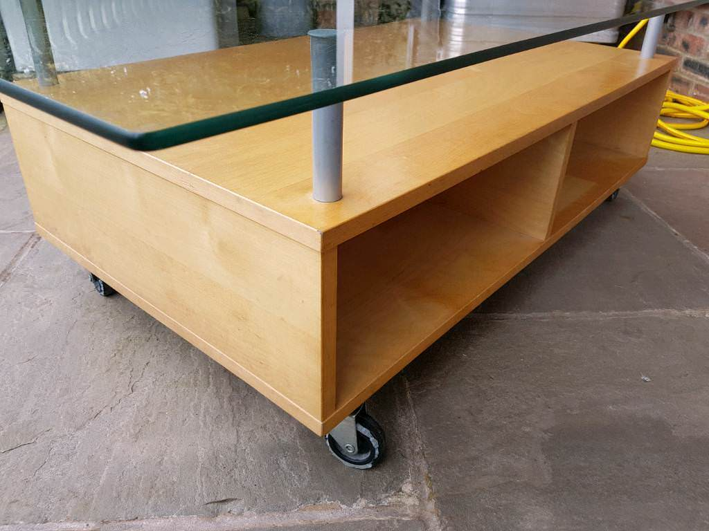 Ikea glass wheeled coffee table in Westhoughton, Manchester Gumtree